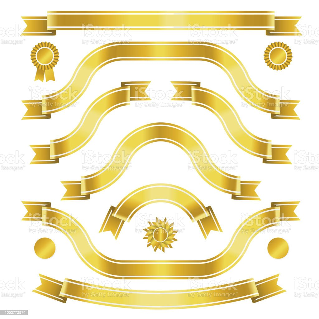 Golden banners with white inlay vector art illustration