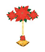 Two Christmas Bells with Lovely Red Bow Hanging on Red Poinsettia Flowers, Sign for Christmas Celebration Isolated on White Background.