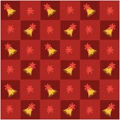 An Illustration Seamless Patterns of Golden Bell in Red and Orange Chess Board, Sign for Christmas Celebration.
