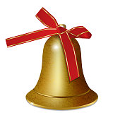 Golden bell with red ribbon bow isolated on white background. Christmas and New year decoration. Vector illustration.