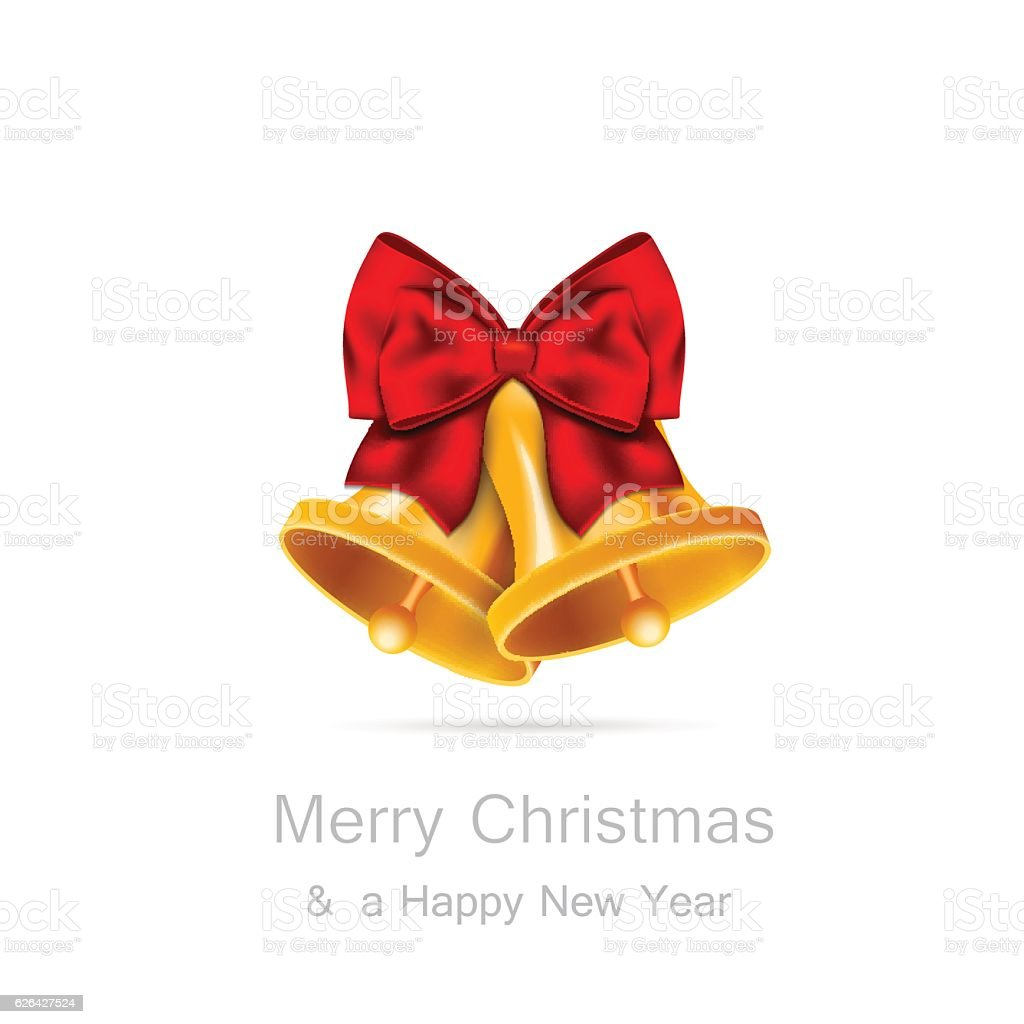 Golden bells with red bow on white background vector art illustration