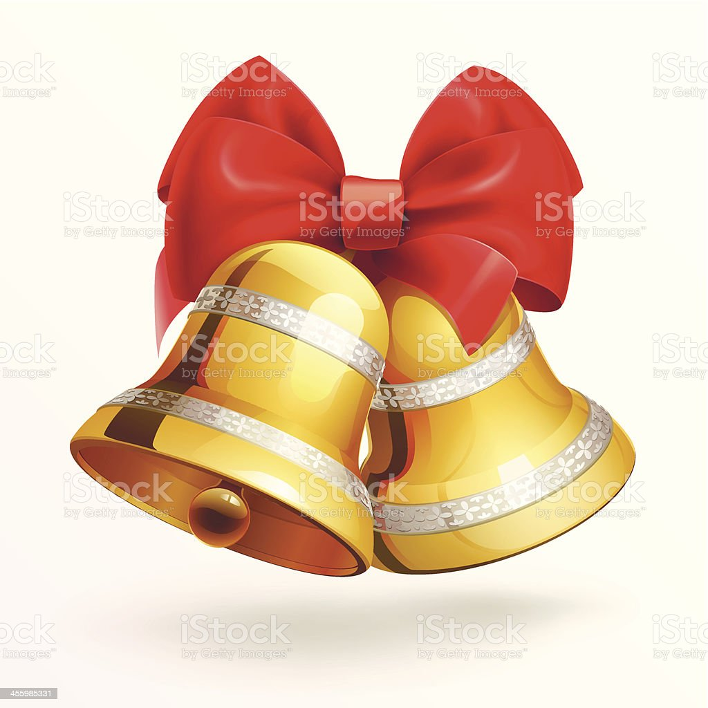 Golden bells with red ribbon on white background . vector art illustration
