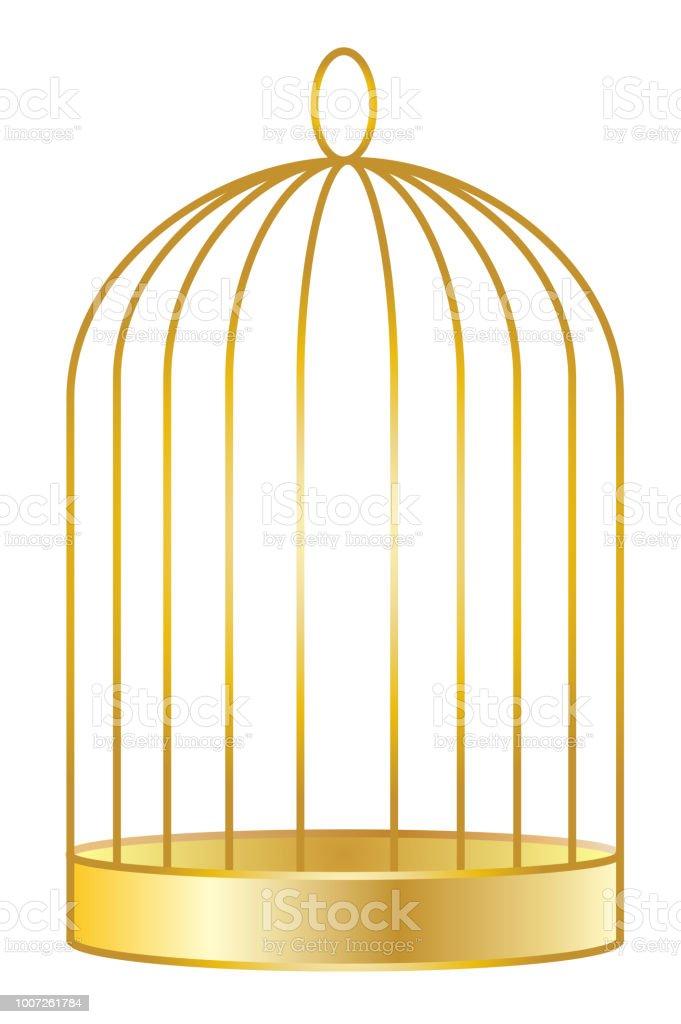 Golden Birdcage vector art illustration