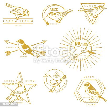 Vector Illustration with a set of elegant, modern and trendy Golden Birds Labels with copy space for your message or company name