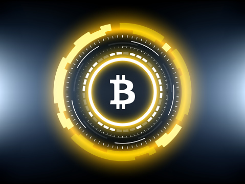 Golden Bitcoin Cryptocurrency Vector Illustration Stock Vector Art & More Images of Abstract