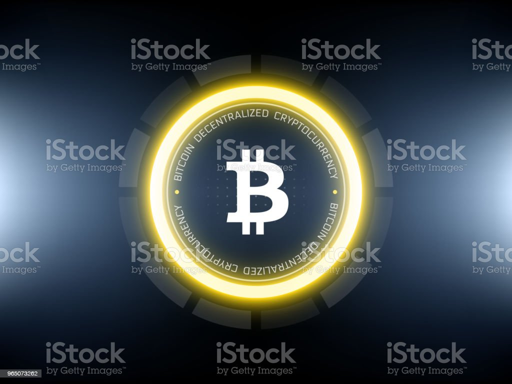 Golden Bitcoin Cryptocurrency Vector Illustration Stock Vector Art