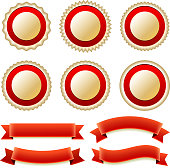 Golden Blank custom badges with red ribbons royalty free vector set. This royalty free vector illustration contains several unique badge design elements in gold in red. The set includes badges and red decorative banner ribbons.  The is plenty of space for copy and the file can be easily customized for all your needs. The background is white.