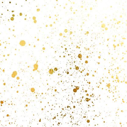Golden blots Grunge urban background. Texture Vector. Dust overlay distress grain. Gold paint splatter , poster for your design. Hand drawing illustration