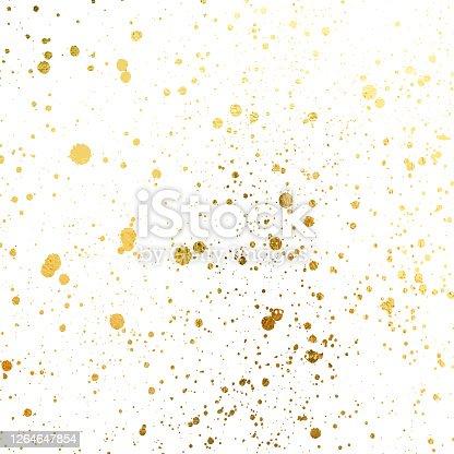 istock Golden blots Grunge urban background. Texture Vector. Dust overlay distress grain. Gold paint splatter , poster for your design. Hand drawing illustration 1264647854