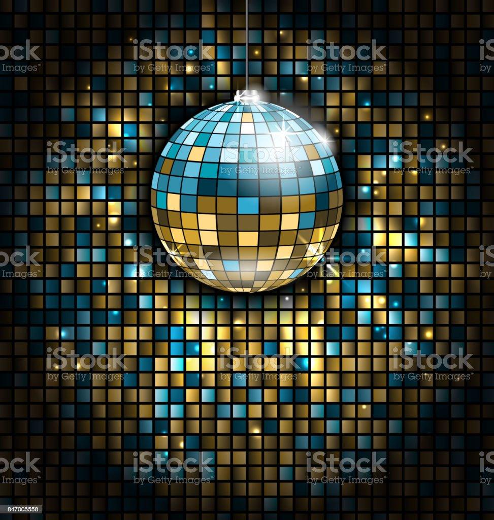 gouden blauwe disco bal met licht stralen op mozaïek glitter