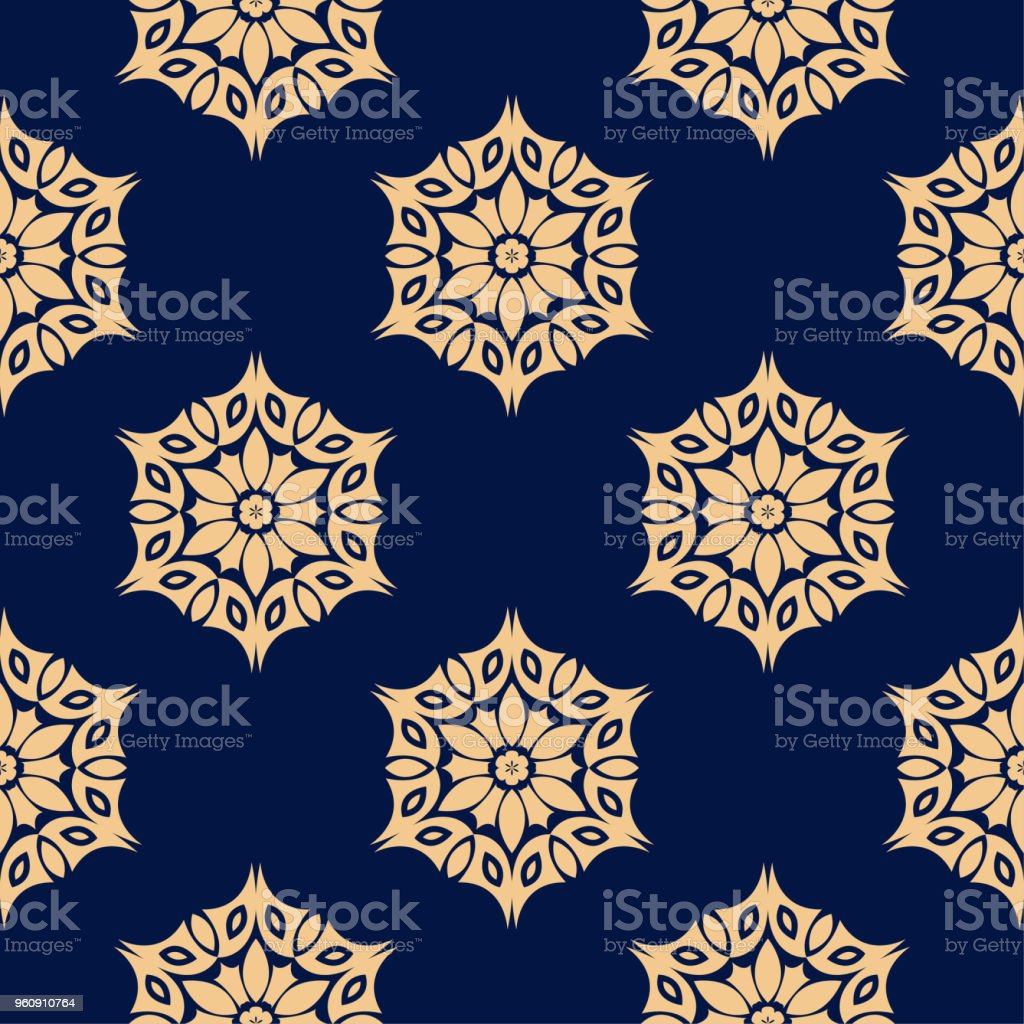 Golden blau floral nahtlose Muster - Lizenzfrei Abstrakt Vektorgrafik