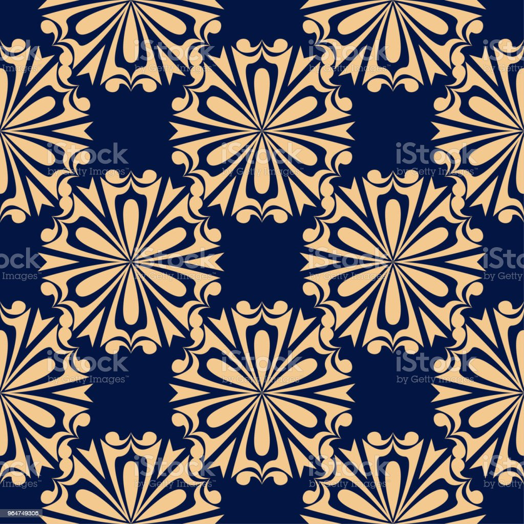 Golden blue floral seamless pattern royalty-free golden blue floral seamless pattern stock vector art & more images of abstract