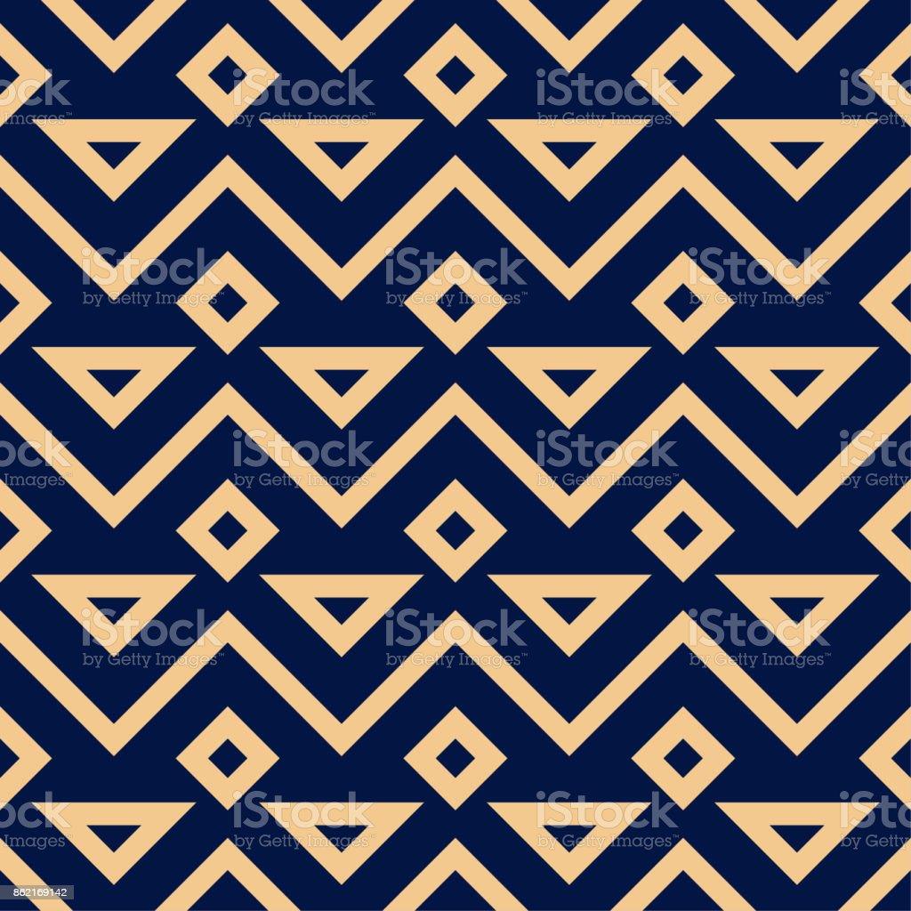 Golden blue geometric ornament. Seamless pattern - arte vettoriale royalty-free di Astratto