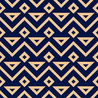 Golden Blue Geometric Ornament Seamless Pattern - Immagini vettoriali stock e altre immagini di Astratto