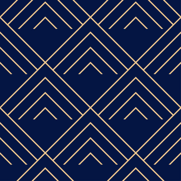 Bекторная иллюстрация Golden blue geometric ornament. Seamless pattern