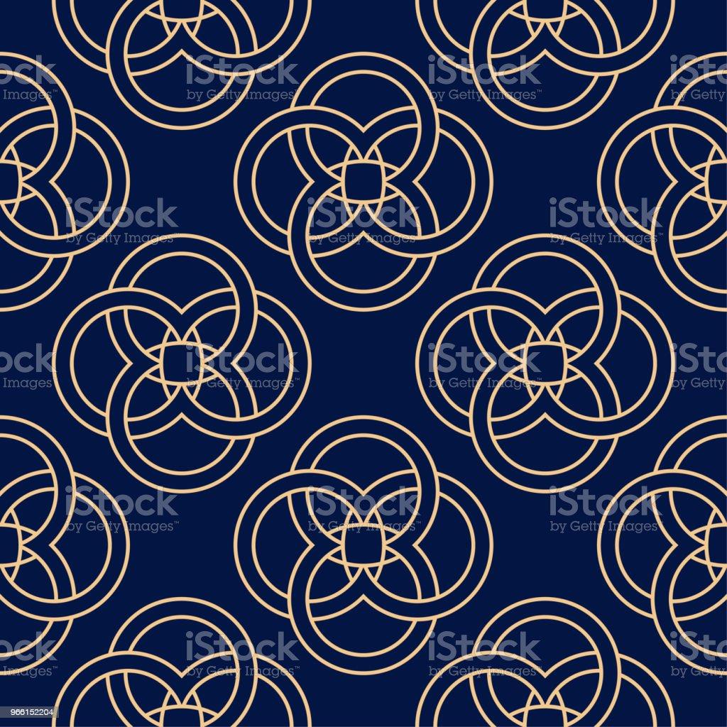 Golden blue geometric ornament. Seamless pattern - Векторная графика Абстрактный роялти-фри