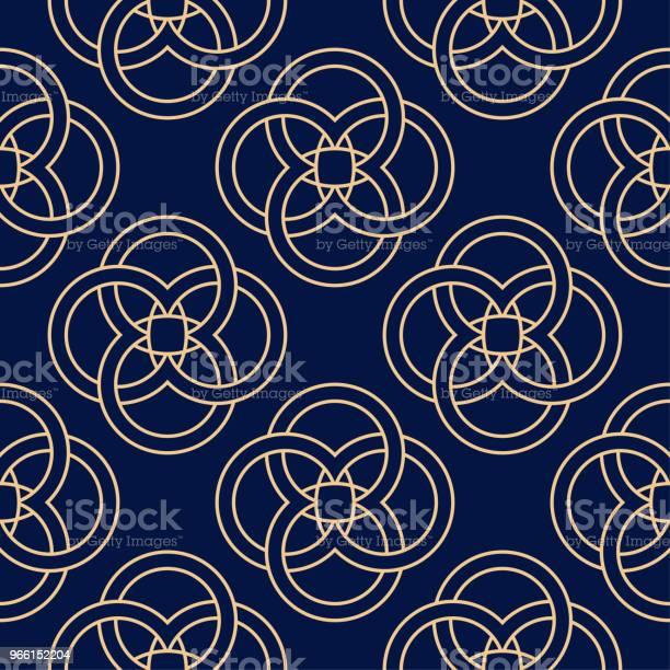 Золотой Синий Геометрический Орнамент Бесшовный Шаблон — стоковая векторная графика и другие изображения на тему Абстрактный