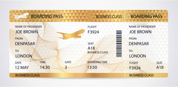Golden Boarding pass (ticket, traveler check template) with aircraft (airplane or plane) silhouette on gold guilloche background Travel by Aerial Transport. Enjoy your vacation. Isolated vector on white airplane ticket stock illustrations