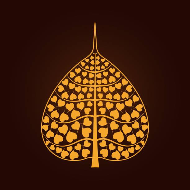golden Bodhi leaf symbol in Thai art style vector art illustration
