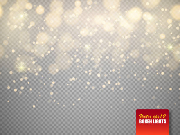 golden bokeh lights with glowing particles isolated. vector - bokeh stock illustrations