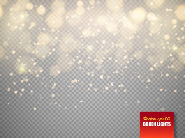 ilustraciones, imágenes clip art, dibujos animados e iconos de stock de luces de oro bokeh con partículas brillantes aisladas. vector de - fondos difuminados