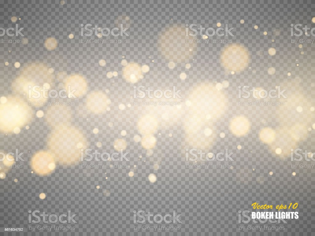 Golden bokeh lights with glowing particles isolated. Vector vector art illustration