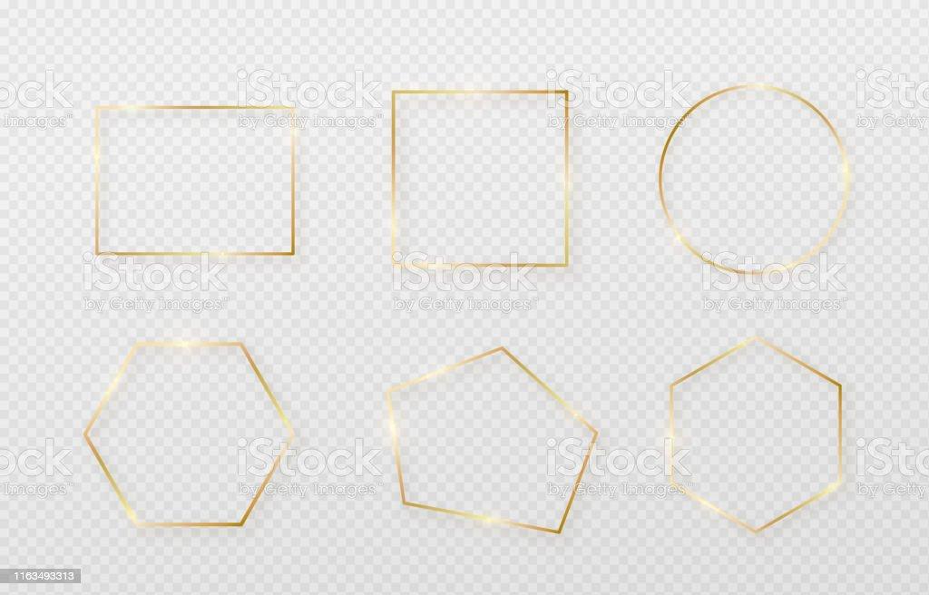 ライト シャドウとライトが影響を受けます。最小限のスタイルで金の装飾。幾何学的な細い線の長方形のグラフィック金属箔要素 - お祝いのロイヤリティフリーベクトルアート