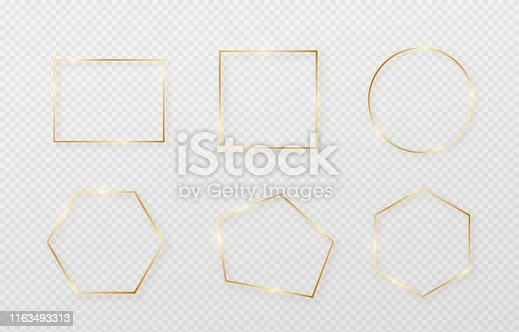 Golden border frame set with light shadow and light affects. Gold decoration in minimal style. Graphic metal foil element in geometric thin line rectangle shape.