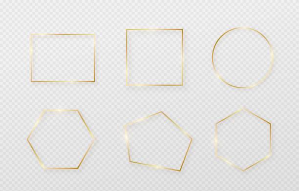 金色邊框框架設置與光影和光影響。黃金裝飾在最小的風格。幾何細線矩形形狀的圖形金屬箔元素 - 有邊框的 幅插畫檔、美工圖案、卡通及圖標