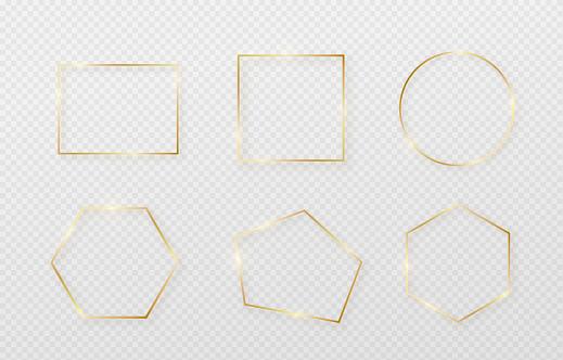ライト シャドウとライトが影響を受けます最小限のスタイルで金の装飾幾何学的な細い線の長方形のグラフィック金属箔要素 - お祝いのベクターアート素材や画像を多数ご用意