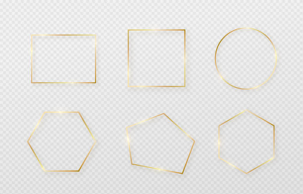 golden border frame set with light shadow and light affects. gold decoration in minimal style. graphic metal foil element in geometric thin line rectangle shape - gold stock illustrations