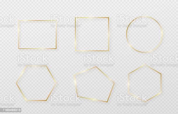 Cadre De Bordure Doré Réglé Avec Lombre Et La Lumière Légèreaffecte Décoration En Or Dans Un Style Minimaliste Élément Graphique De Papier Daluminium En Métal Géométrique Forme De Rectangle Mince Vecteurs libres de droits et plus d'images vectorielles de Abstrait