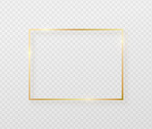 istock Golden border frame with light shadow and light affects. Gold decoration in minimal style. Graphic metal foil element in geometric thin line rectangle shape 1151466286