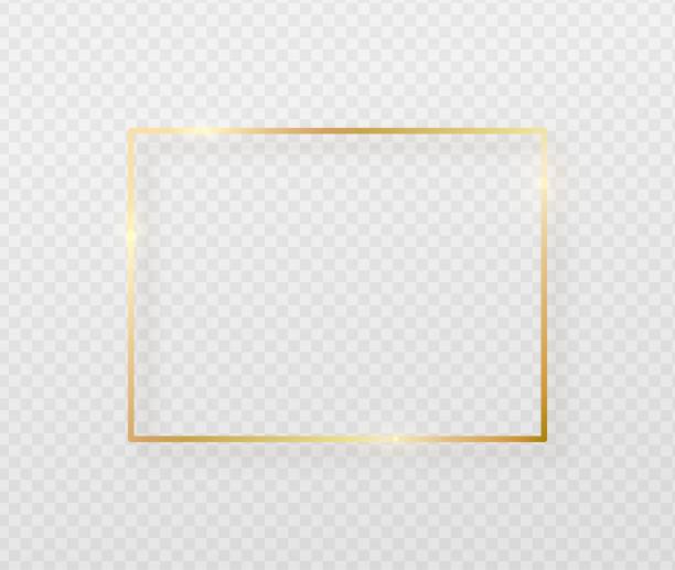 złota ramka obramowania z lekkim cieniem i światłem wpływa. złota dekoracja w minimalistycznym stylu. graficzny element folii metalowej w geometrycznym kształcie prostokąta cienkoliniowego - chudy stock illustrations