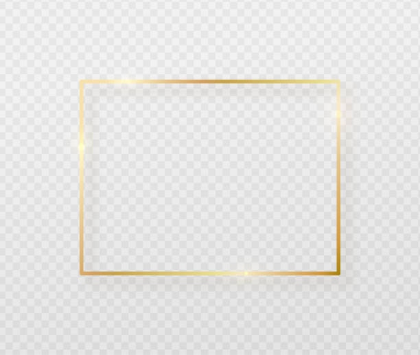 Golden border frame with light shadow and light affects. Gold decoration in minimal style. Graphic metal foil element in geometric thin line rectangle shape vector art illustration