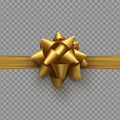 Golden bow on ribbon isolated with transparent background.