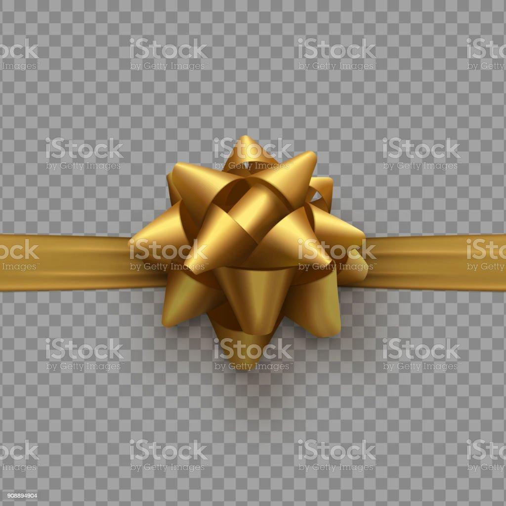 透明な背景と分離されたリボンの黄金の弓 ベクターアートイラスト