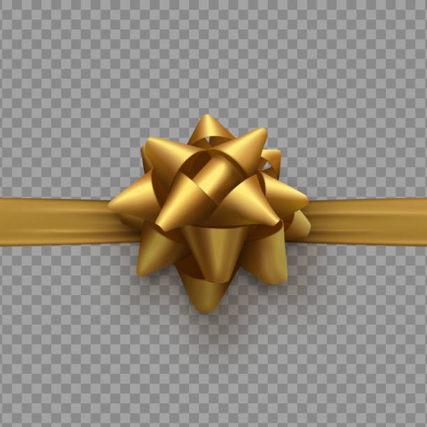 Golden bow on ribbon isolated with transparent background vector art illustration