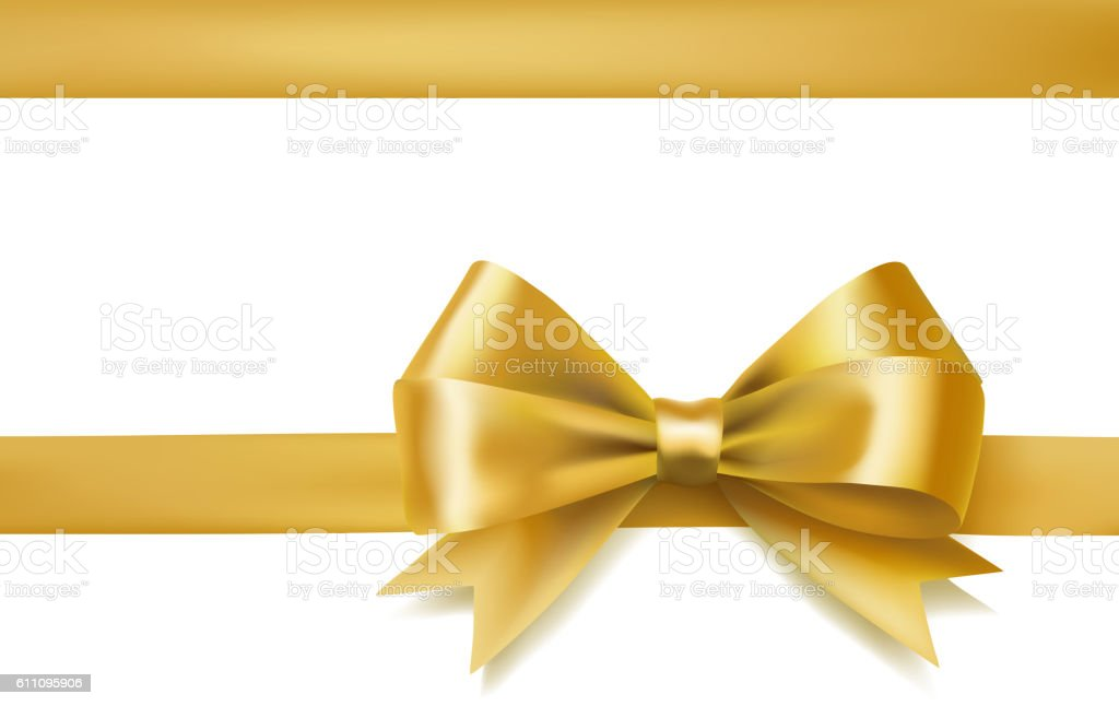 golden bow ribbon vector art illustration