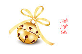 Golden bow with jingle bells, Christmas icon of jingle bells with golden bow