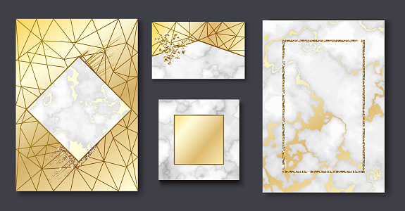 Golden brochure, invitation set, marble background in trendy minimalistic geometric style with gold lines, textures, granite, glitter, frame, vector fashion wallpaper, poster, cover