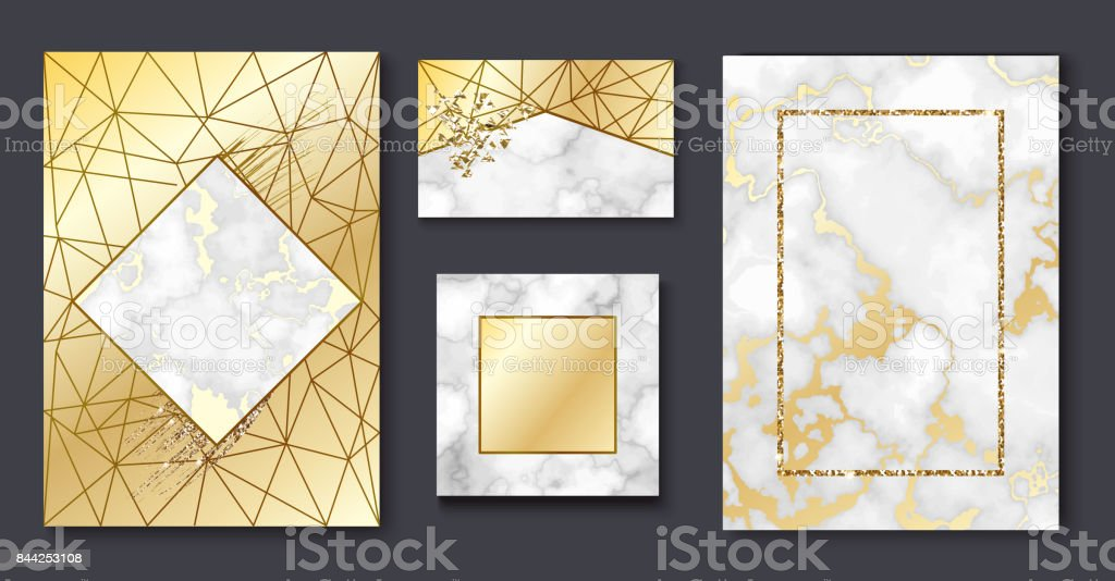 Golden brochure, invitation set, marble background in trendy minimalistic geometric style with gold lines, textures, granite, glitter, frame, vector fashion wallpaper, poster, cover vector art illustration