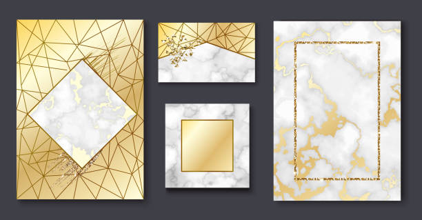 golden brochure, invitation set, marble background in trendy minimalistic geometric style with gold lines, textures, granite, glitter, frame, vector fashion wallpaper, poster, cover - wedding fashion stock illustrations, clip art, cartoons, & icons