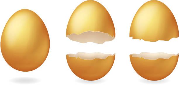 금이 골든 깨진된 달걀 오픈 부활절 달걀 껍질 디자인 3d 절연 현실적인 아이콘 벡터 일러스트 레이 션 - 부활절 달걀 stock illustrations