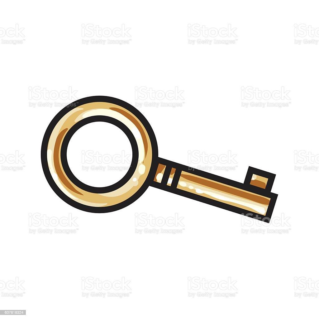 Golden, bronze ornamental, vintage key for love lock unity ceremony vector art illustration