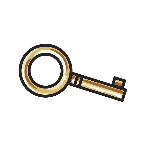 golden, bronze ornamental, vintage key for love lock unity ceremony - clipart goldene hochzeit stock-grafiken, -clipart, -cartoons und -symbole
