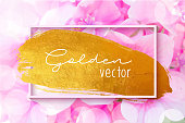 Golden Brush Stroke with Pink Hydrangea Flower Background. Gold Shiny Grunge Texture. Gold Foil Brush Stroke Clip Art. Metallic Golden Texture Design Element for Greeting Cards and Labels, Abstract Background.