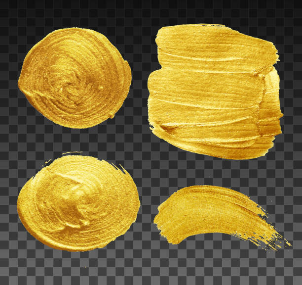 Golden brush strokes collection EPS10. File don't contain any transparency.Layered. grouped. acrylic painting stock illustrations