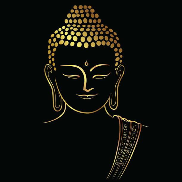stockillustraties, clipart, cartoons en iconen met gouden boedha hoofd met gouden grens element isoleer op zwarte achtergrond (vector vlak concept) - boeddha