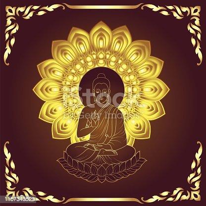 Golden Buddha Siddhartha gautama sit on lotus line art style with traditional frame
